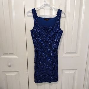 Fitted sequin front vintage design bodycon artdeco